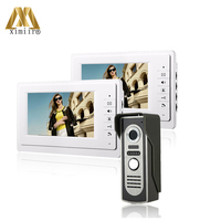 Eller serbest görüntülü kapı telefonu 6 adet IR kamera görüntülü kapı telefonu kablolu 7 inç renkli ekran Video interkom kapı zili 816M12