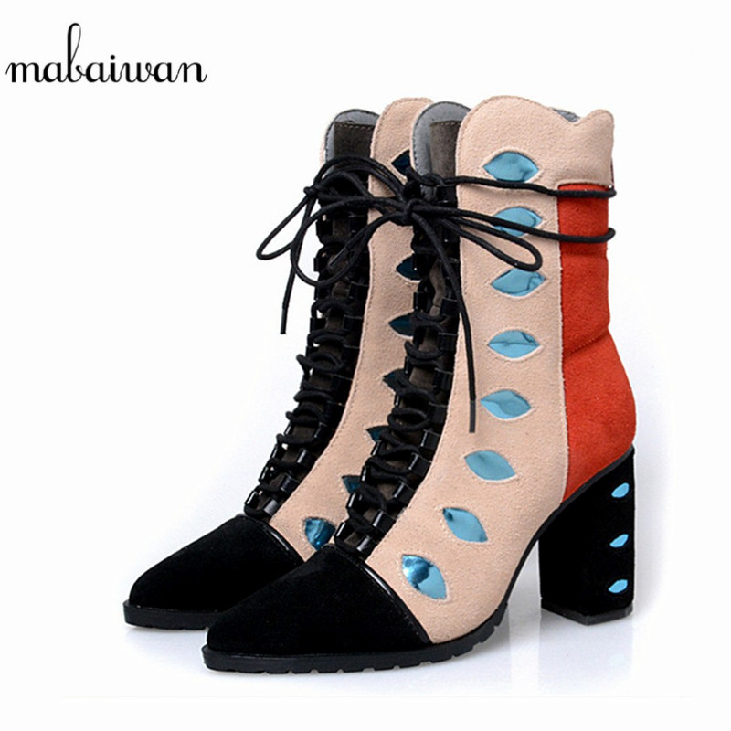 2017 Fashion New Eye Design Pointed Toe Women Ankle Boots Square Heel Short Booties Genuine Leather Lace Up Martin Botines Mujer купить