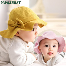 2019 New Spring Summer Baby Hats with Bowknot Solid Color Girls Sun Hat Children Fisherman Cap Sunscreen Boys Bucket
