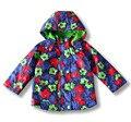 Crianças / crianças / meninas agradável floral jaqueta, Jaqueta à prova d ' água, Casaco floral, Fina acolchoado com forro de lã, Jaqueta de primavera / outono