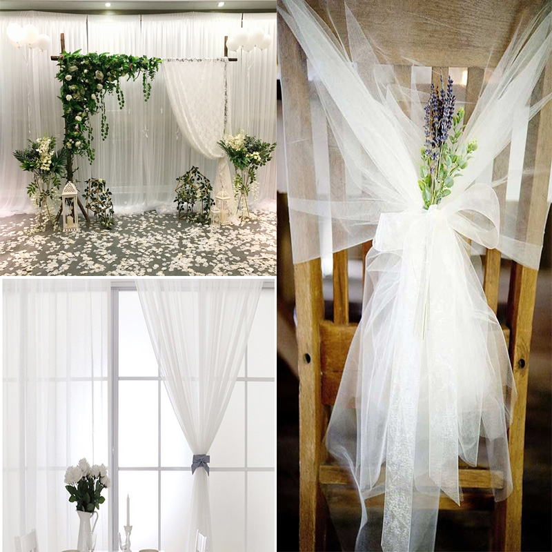 10m Crystal Tulle White Spool Sheer Organza Tulle Fabric for Wedding tulle Mariage Arch Decoration Party DIY Tulle Table Skirt(China)