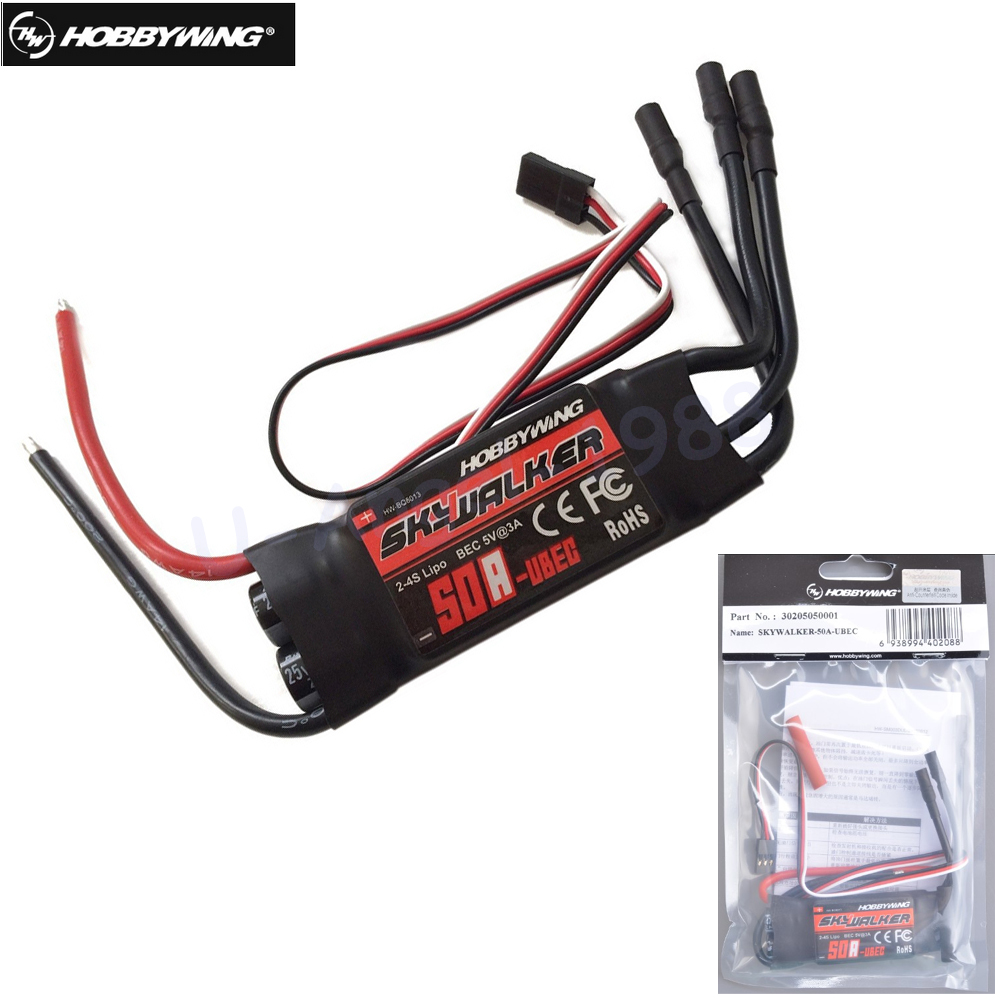 Original Hobbywing skywalker 50A (2-4 S) brushless ESC para RC Multicopters helicópteros Quadcopter aviones shpping libre
