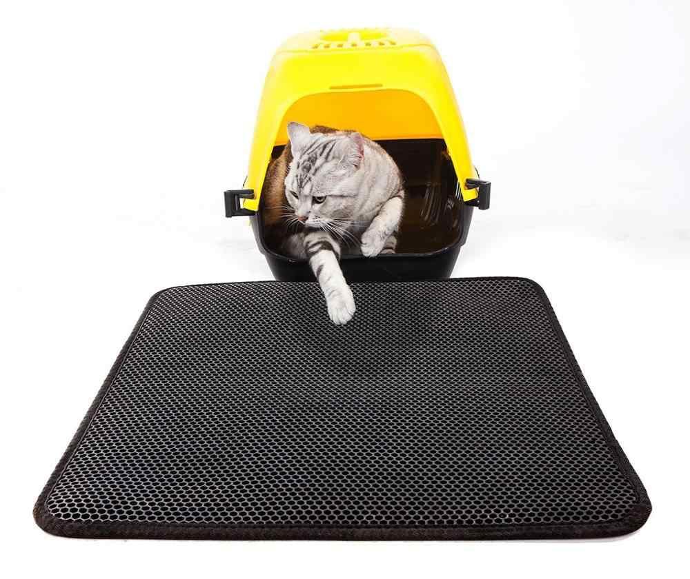 애완 동물 고양이 쓰레기 매트 휴대용 더블 레이어 EVA 방수 고양이 매트 웨어러블 용품 트 랩퍼 패드 부드러운 표면 통기성 구멍