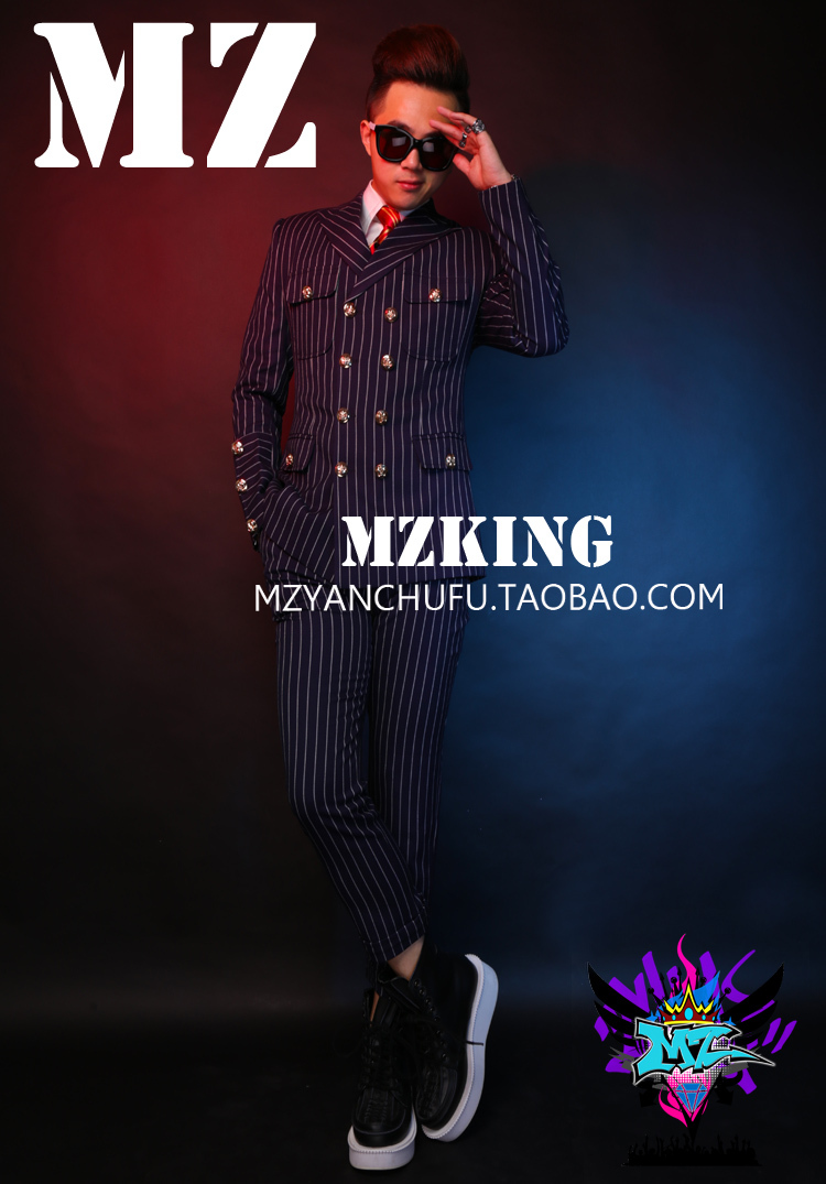 GD Bigbang Style Men Singers DJ DS Stage Show Purplish Blue Suit Sets Costumes Plus Size Formal Dress ! S 4XL free shipping