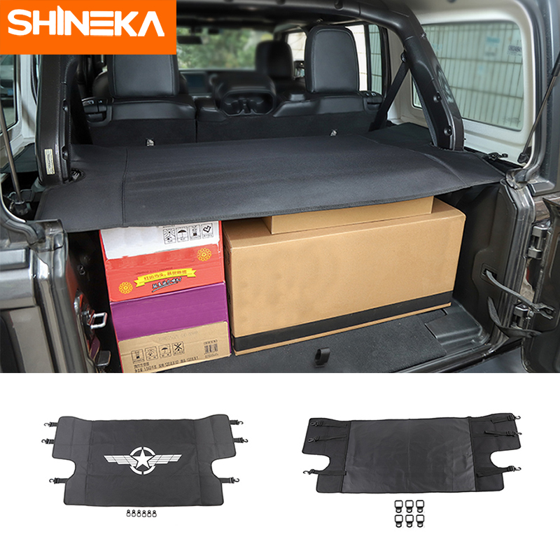 SHINEKA Interior Mouldings for Jeep Wrangler JL 2018+ Car Luggage Carrier Trunk Curtain Cover for Wrangler 2019 Car Accessories-in Interior Mouldings from Automobiles & Motorcycles    1