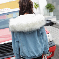 Women Winter Warm Denim Jacket Faux Fur Collar Casual Denim Trucker Jacket Coat LXH