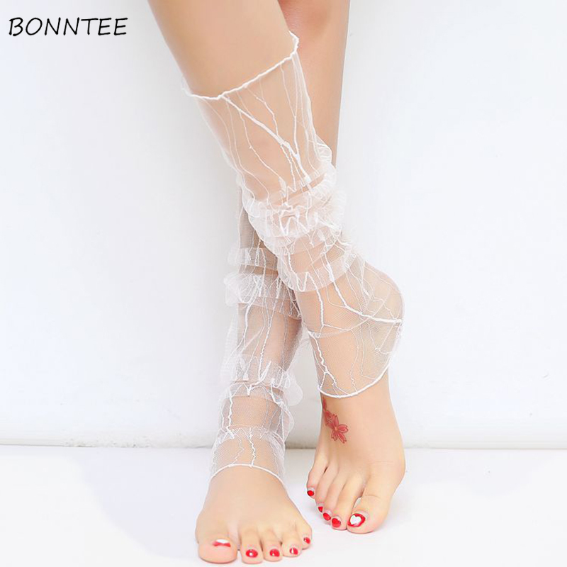 Stockings Women Summer All-match Elegant Thin Sexy Womens Flower Sweet Breathable Students Fashion Leisure Korean Style Lovely