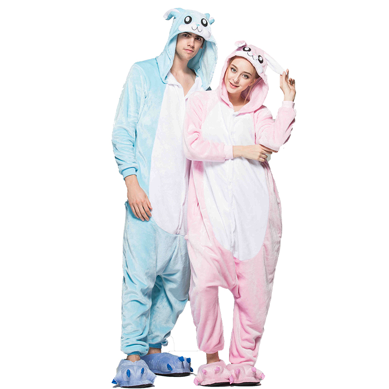 Onesies for adults winter pajamas kigurumi men woman pyjamas bunny sleepwear jumpsuit Christimas couple outfits