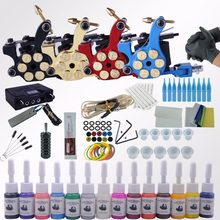 Professional Complete Tattoo Kit Tattoo Machine 4pcs Liner Shader Tattoo Gun Immortal Tattoo Ink Set Power Box Grip Tips Supply(China)