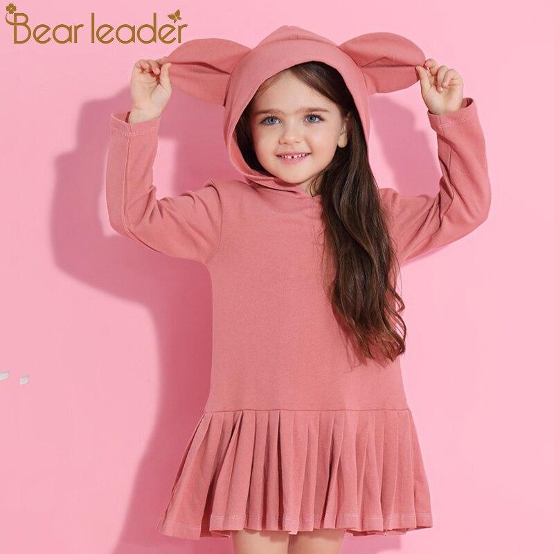 Líder urso Meninas Vestem 2019 Nova Primavera Marca Meninas Do Bebê Blusa de Orelhas de Coelho Com Capuz Ruched Manga Longa Crianças Se Vestem 2 -6 anos