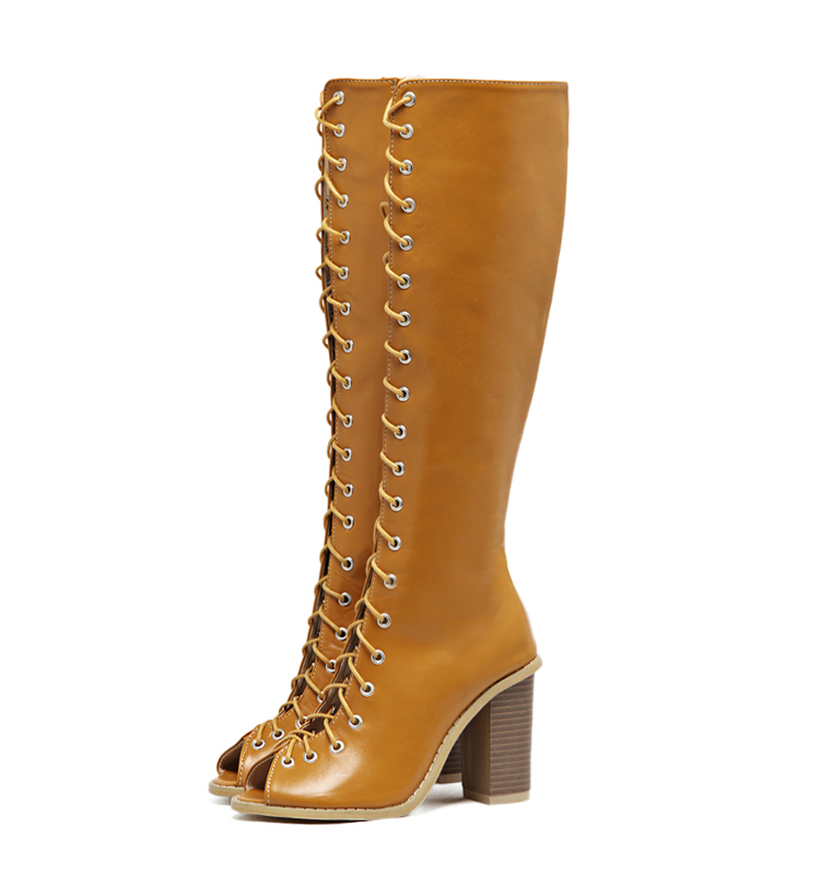 ФОТО 2017 Spring Sexy Girl Gladiator Black Brown PU Leather Cross Lace Up Peep Toe Thigh High Boots Women High Heels Shoes Sandals