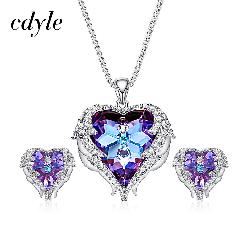 Cdyle Crystals from Swarovski Angel Wings Necklaces Earrings Purple Blue Crystal Heart Pendant Romantic Jewelry Set
