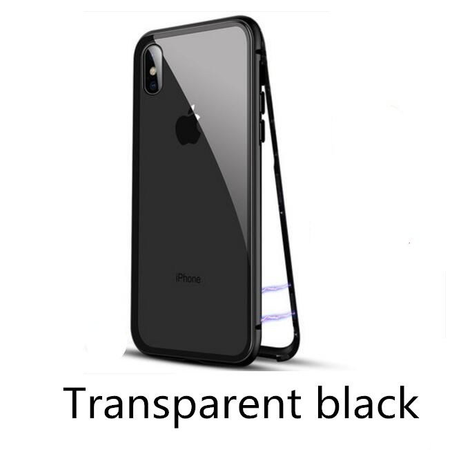 Magneto Magnetic Adsorption case for iphone X 7 bumper luxury aluminum frame with tempered glass cover for iphone x 6 6s 7 8plus