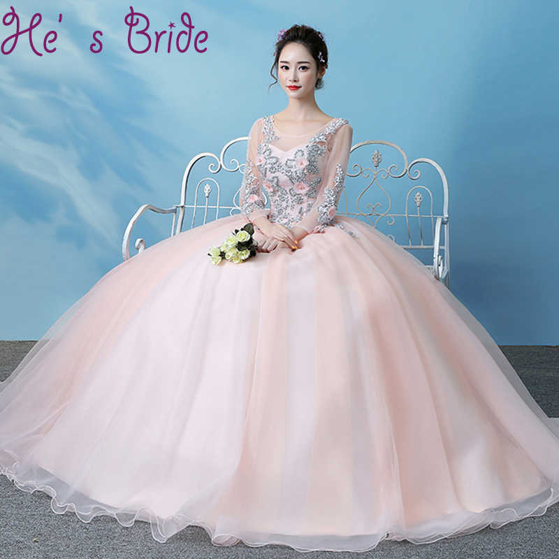 7ecf3af8f1 Evening Dress Sheer Scoop Neck Sweet Pink 3 4 Sleeves Lace Up Back Ball Gown