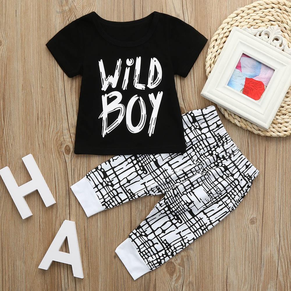 2 шт. для малышей Летняя одежда для мальчиков футболка с буквенным принтом Футболка для мальчиков топы + брюки детская одежда для мальчиков н...