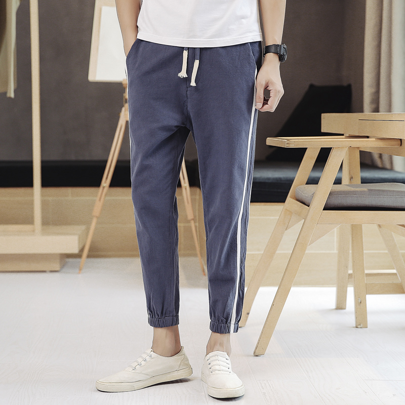 2018 New Pattern Nine Part Trousers Leisure Second Linen Bring Upon Time personality city boy casual trend Free shipping