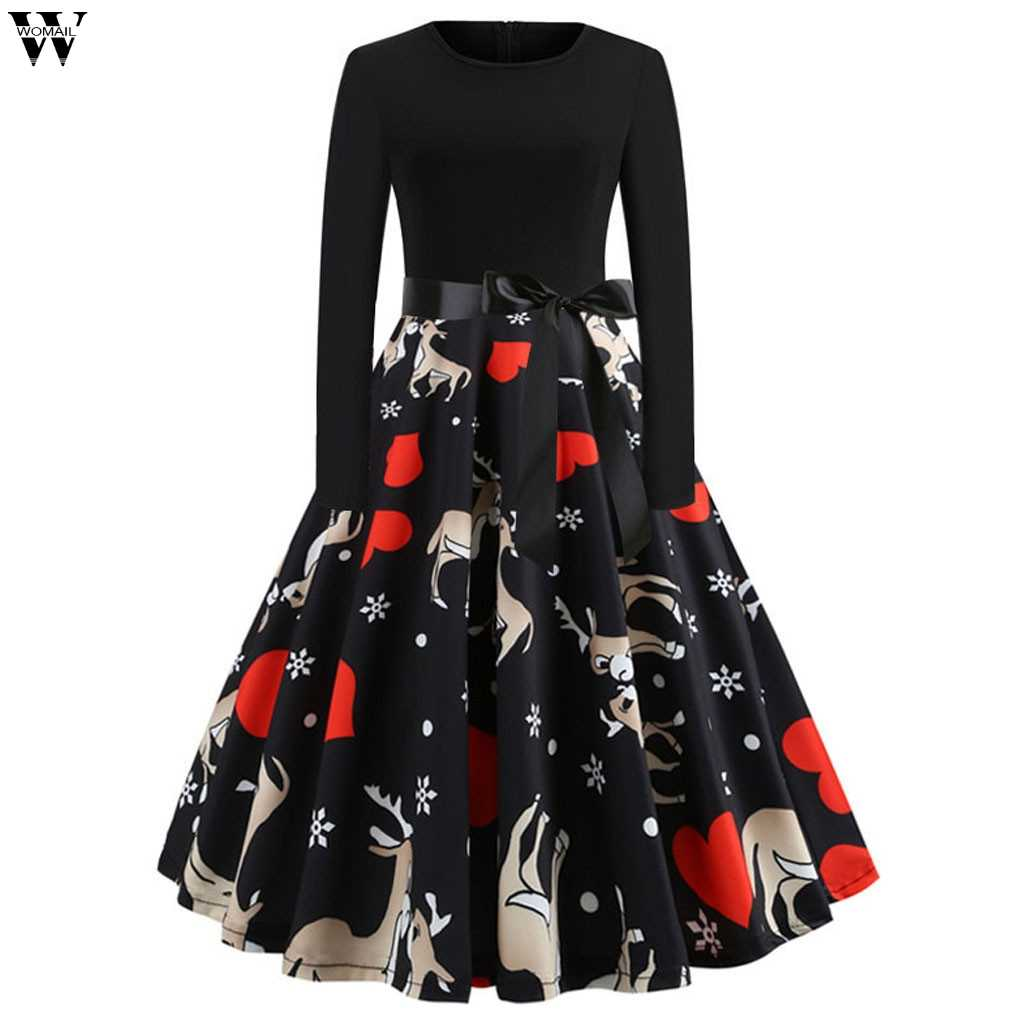 Detail Feedback Questions about Women s Vintage Print Christmas Evening  Party Swing Dress New Year Festival Long Sleeve Tree Casual Winter Dress  Ladies ... b51e3a7a7742