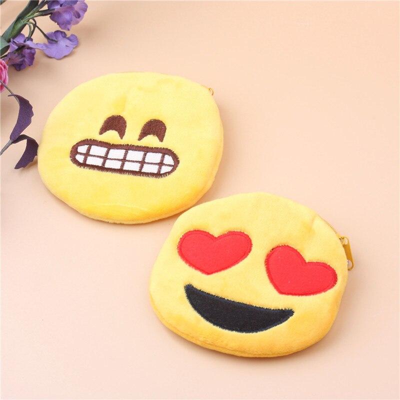 MINCH Cute Mini Coin Purses Change Smile Face Bag Women Plush Emoji Purse Fashion Children Zipper Wallets Girls Mini Handbag
