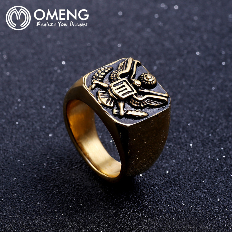 OMENG Brand Hip Hop America Military Emblem Eagle Ring Men Fashion Vintage Stainless Steel Rings Men Jewelry JZ333