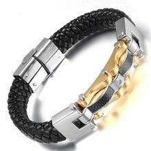 лучшая цена LOOKER Biker Carbon Woven Fiber Cuff Bangle Black Silver Gold Color Men's Leather Stainless Steel Bracelet