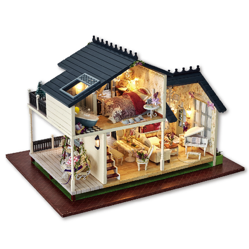 Doll House Miniature DIY Dollhouse With Furnitures LED Light Handmade Wooden House Toys For Children Gift A032 #E diy wooden handcraft miniature provence dollhouse voice activated led light