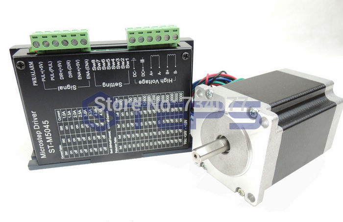 Free shipping!CNC Kit - ST-M5045 Stepper Motor Driver replace M542 Controller 2 Phase 4.5A DC24-50V +nema23 76mm 3A Step motor 2 phase stepper motor and drive m542 86hs45 4 5n m new