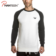 ФОТО bodybuilding long sleeve t shirt for men patchwork o neck exercise fitness outerwear slim fit men clothing