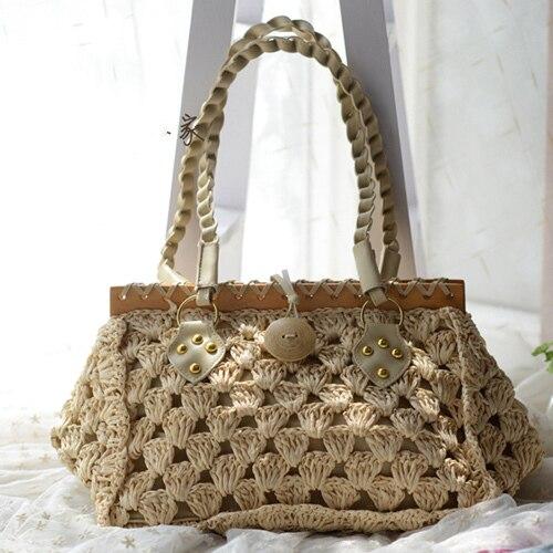 Straw Beach Bag Women Bag  Summer Lady Bag Straw Woven Shoulder Bag Shopping Free Shipping A1175