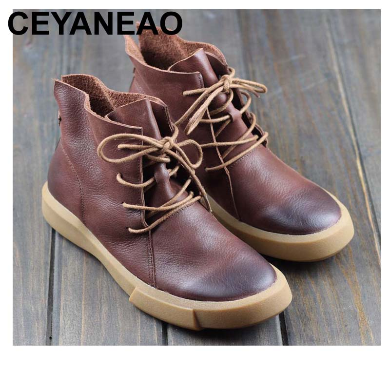 CEYANEAO Boots Women Shoes Gneuine Leather Lace up Ladies Ankle Boots Anti-slip Rubber Sole Woman Motorcycle Boots (8558-1)