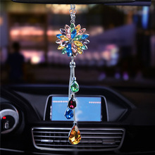 Car Pendant Crystal Flower Petals Charms Auto Rearview Mirror Hanging Ornaments Automobile Interior Suspension Decoration Gifts