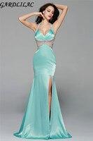 Тафф Холтер спинки блесток сбоку Разделение сексуальная длинное вечернее платье вечернее Вечеринка платье настоящая фотография; Vestidos Para