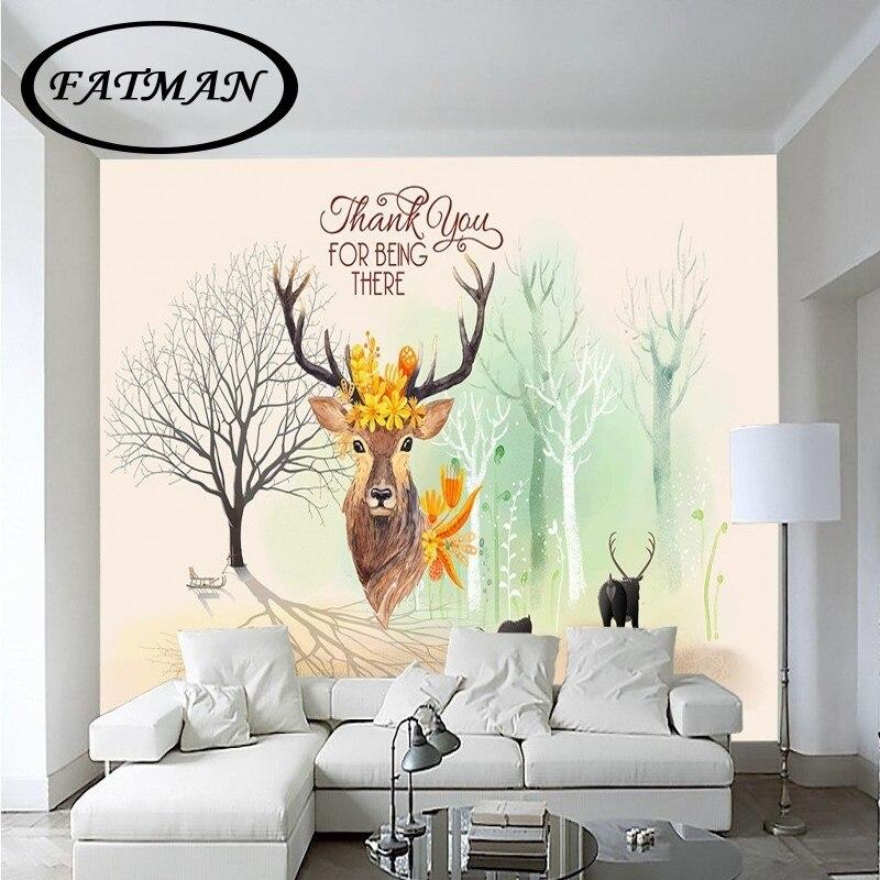 Individuelle Fototapeten 3D Stereo Europa Stil Wald Deer TV Hintergrund Tapete Restaurant Hotel Wohnzimmer Wandbild