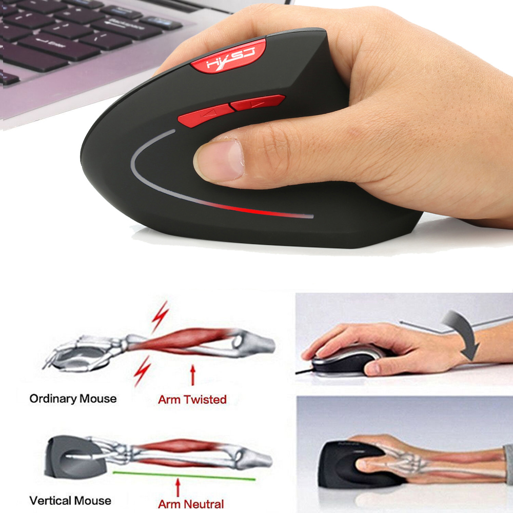 Image 2 - HXSJ new vertical wireless mouse 2.4G ergonomic wireless mouse 2400DPI adjustable for PC notebook USB2.0 black gray-in Mice from Computer & Office