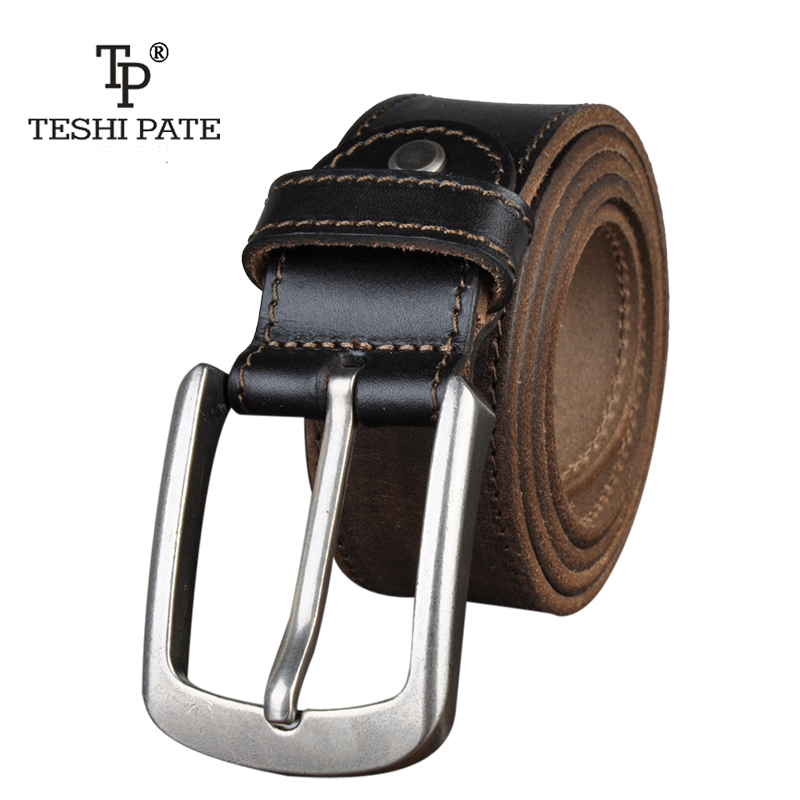 TESHI PATE TP 2018 Top cowhide Korean version of pure cowhide leather hand-altered mans vintage Casual belt