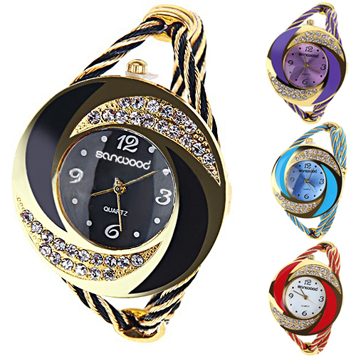 Fashion Women Round Crystal Rhinestone Decorated Bangle Cuff Analog Quartz Brace
