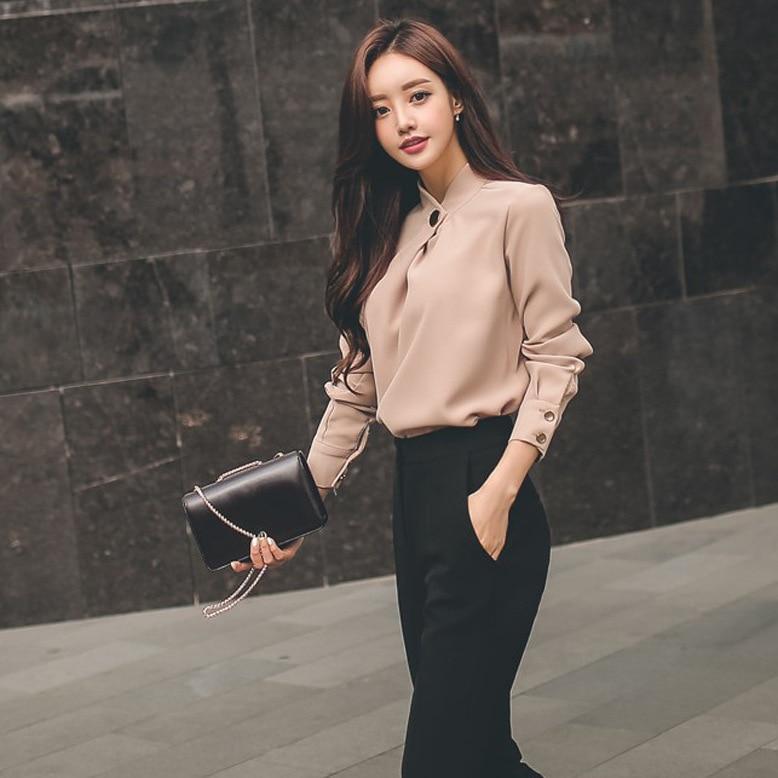 2018 Summer Women suit Office Party  Bodycon Vestidos fashion Slim Chiffon shirt tops and black Straight pants 2 piece set
