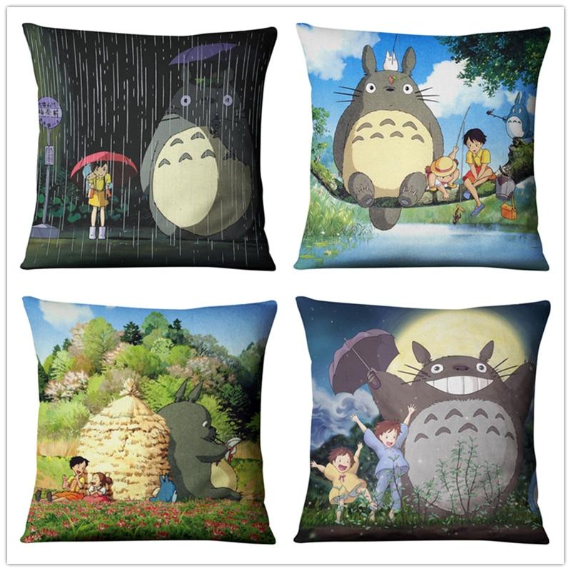 Cartoon Totoro  Anime Studio Ghibli Throw Pillow Case Sombrillas Paraguas Fashion Linen 45CM*45CM Tapestry