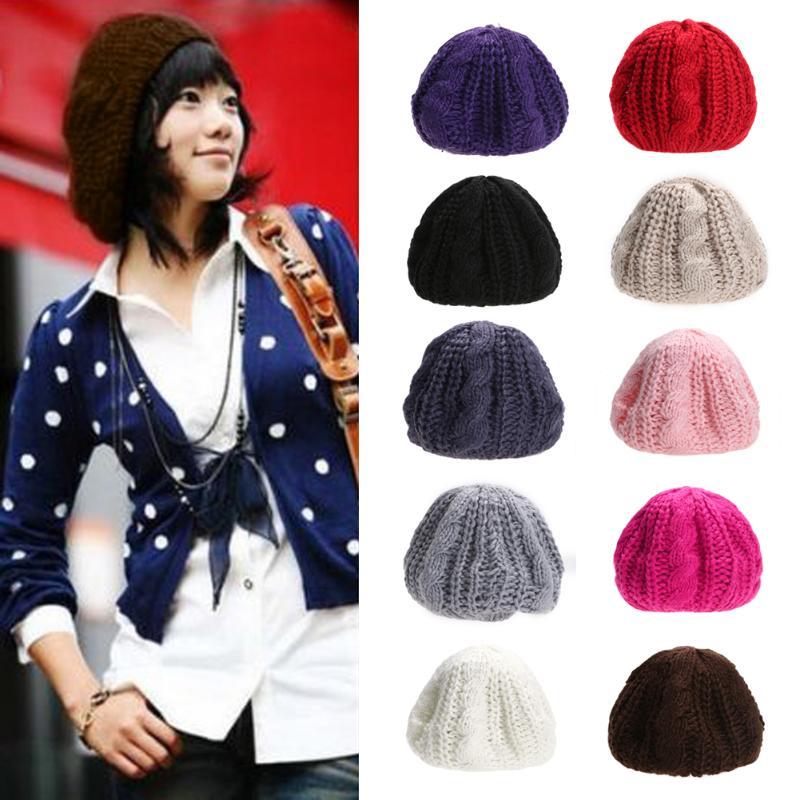 ac1c3c9107f Hat Beanie Winter Female Hats for Women Cap Women Winter Warm Knit Wool  Crochet Hat Braided Baggy Beret Hat Beanie Cap 9 colors-in Skullies    Beanies from ...