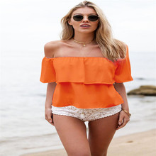 Fashion Womens Sexy Off-Shoulder Chiffon Short Sleeve Beach One-Shoulder Shirt