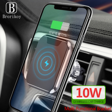 Multifunction Qi Wireless Charger for Samsung S10 S9 Note 10 iPhone X Xs Max 8 Game Bracket Fast Wireless Car Charging Holder