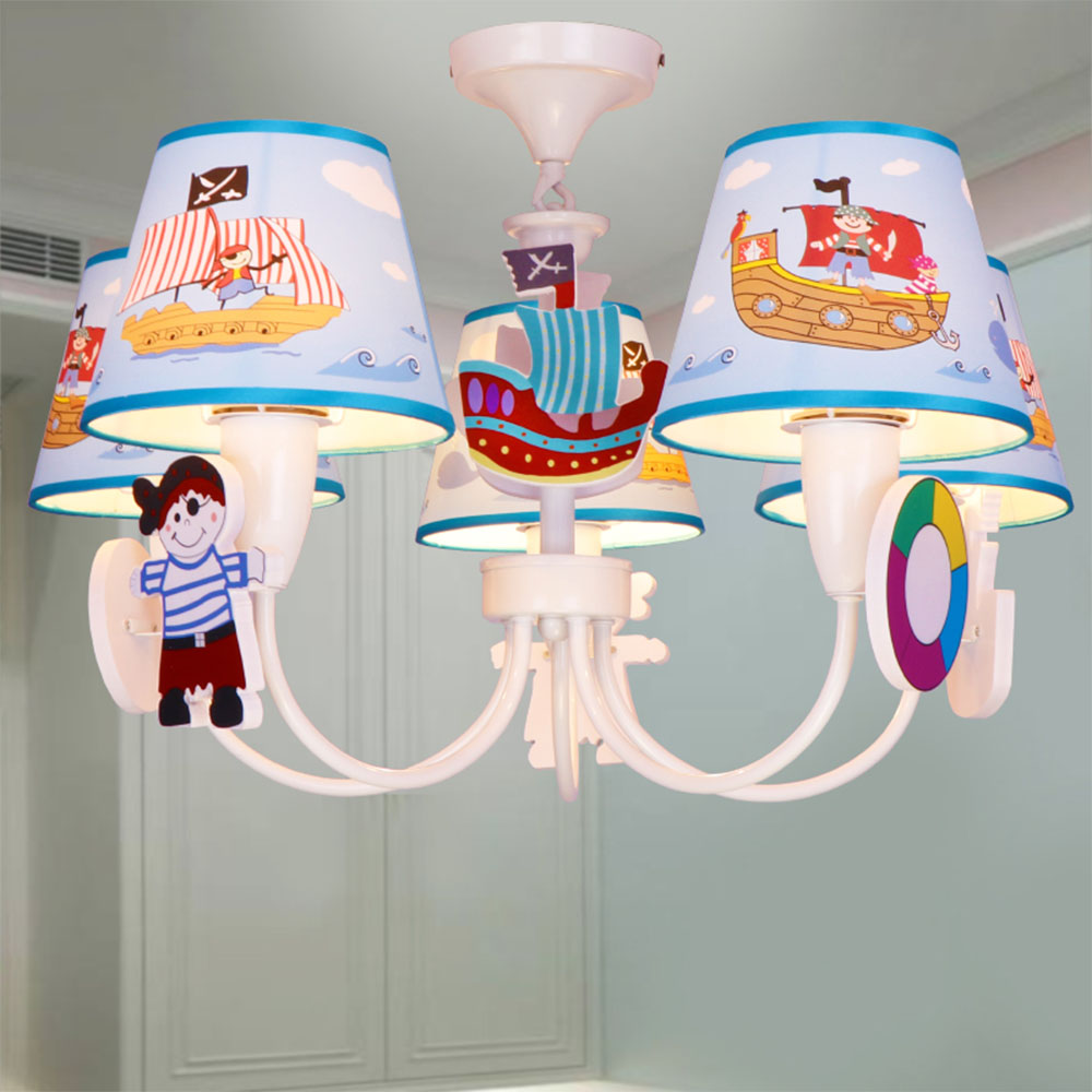 New pirate Led Chandelier Cartoon E14 Led chandeliers 110V-220V Kids Room Chinese blue Chandeliers Led Lamps new led arcade game diy parts 2 x 5pin 5v 2 4 8 way led illuminated joystick 16 x led illuminated push button for mame game