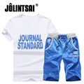Jolintsai 2017 Summer Men's Tracksuits Sportwear Men Short-Sleeve Casual Letter Printing Shorts 2 Piece Sets Brand Clothing