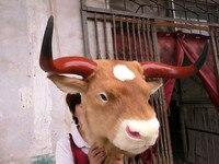 Большой моделирования головы коровы модель полиэтилена и меха кролика желтая головы коровы подарок около 50x37x57 см 1647