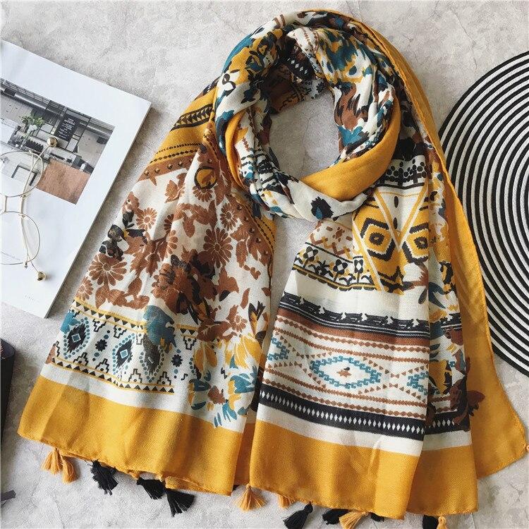 2019 Women's Fashion   Scarf   African Floral Viscose Shawl Spain Luxury Brand Foulard Pashmina Sjaal Bufandas Mujer Muslim Hijab