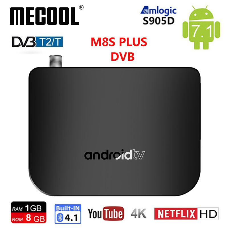 Mecool M8S PLUS DVB T2/T Android 7.1 smart TV Box Quad Core Amlogic S905D 1GB 8GB BT4.1 WIFI 1080P H.265 4K IPTV BOX for RussiaMecool M8S PLUS DVB T2/T Android 7.1 smart TV Box Quad Core Amlogic S905D 1GB 8GB BT4.1 WIFI 1080P H.265 4K IPTV BOX for Russia