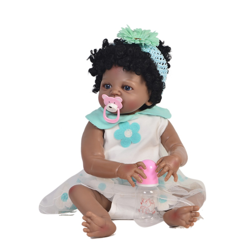 57cm Newborn Doll Can Bathe Full Silicone Vinyl Body black skin dolls bathe menina Baby Princess Best Birthday Gifts for Girl57cm Newborn Doll Can Bathe Full Silicone Vinyl Body black skin dolls bathe menina Baby Princess Best Birthday Gifts for Girl