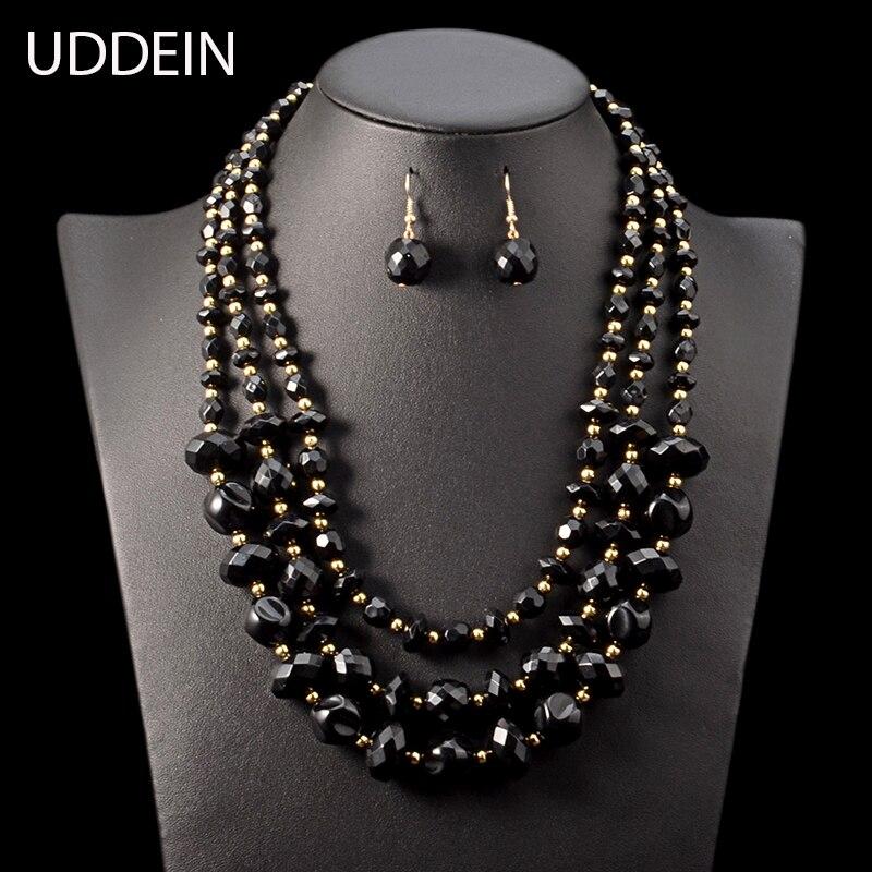 UDDEIN African beads jewelry set multi layer black beads statement necklace & pendant Nigerian wedding bridal jewelry sets women