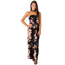 New summer Italian European and American fashion personality hot Lolita style temperament casual printing womens jumpsuit
