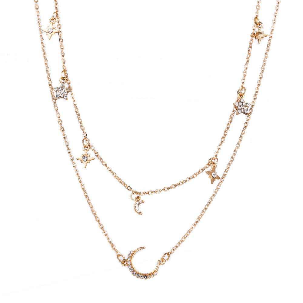DIEZI Винтажный серебряный золотой кулон с Луной и звездами ожерелье для женщин модное многослойное ожерелье со стразами для девочек ювелирные изделия