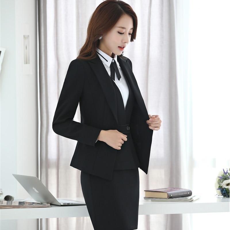Veste Costumes Noir Blue 4 Dark Blazers Vestes black Et Tenues Élégant Grande Taille D'affaires Jupe Pièce Blouses Pour Formelle Femmes Avec Manteau qt5xBnPF4w